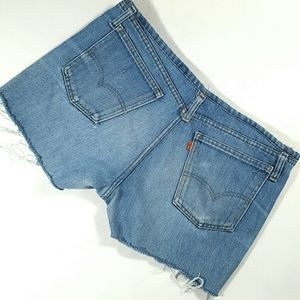 VINTAGE ORANGE TAB LEVIS Redone Denim Shorts